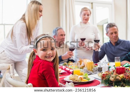Portrait of a pretty little girl in a christmas dinner at home in the living room - stock photo