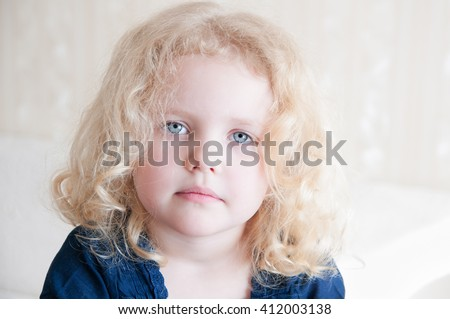 portrait pretty toddler blue eyes blonde stock photo edit