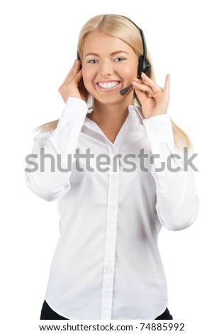 Portrait of a pretty young female call center employee wearing a headset, against white background - stock photo