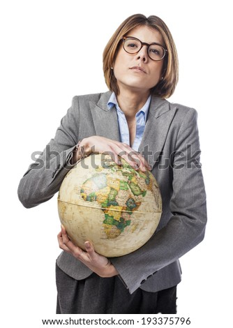portrait of a pretty young woman holding a globe