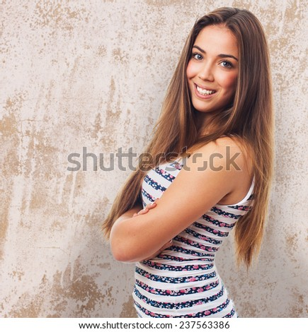 portrait of a pretty young woman smiling - stock photo