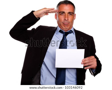 Portrait of a professional friendly senior executive greeting and holding a white card with copyspace against white background - stock photo