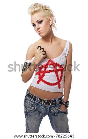 Portrait of a punk girl - stock photo