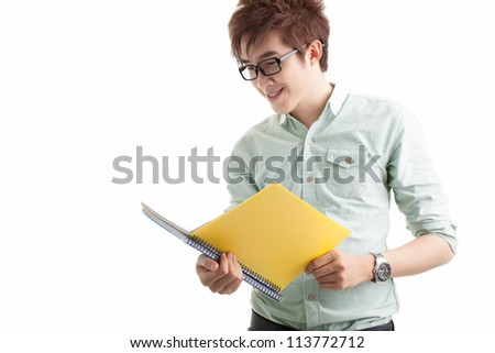 Portrait of a reading student isolated on white - stock photo