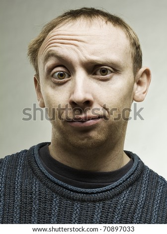 Portrait of a real young man - stock photo