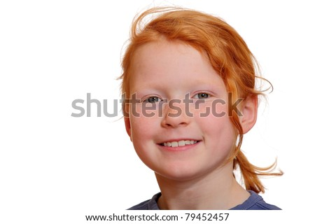 Portrait of a red haired girl isolated on white background - stock photo