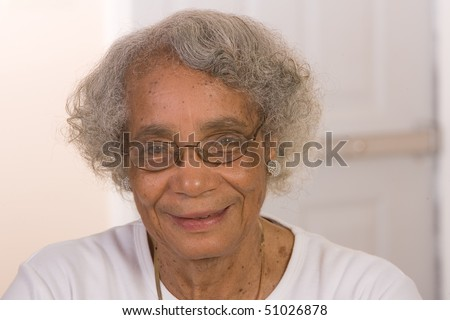 Portrait of a retired African American woman. - stock photo