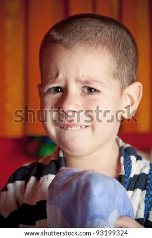 portrait of a sad boy - stock photo
