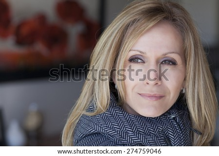 Portrait Of A Sad Woman looking away - stock photo