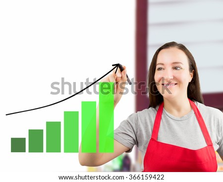 portrait of a saleswoman drawing a graph of benefits on a wipeboard