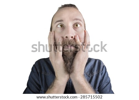 Portrait of a scared man isolated on white background - stock photo
