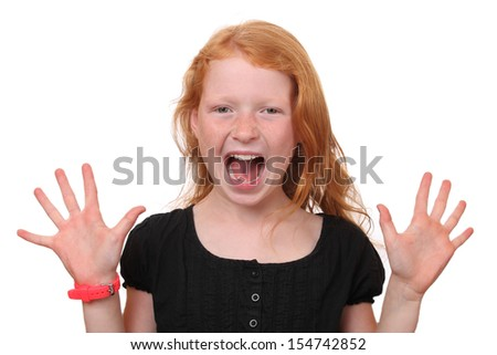 Portrait of a scared young girl on white background - stock photo