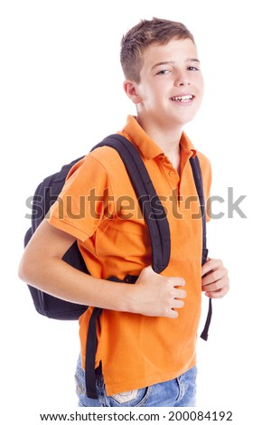 Portrait of a school boy with backpack, isolated on white background - stock photo