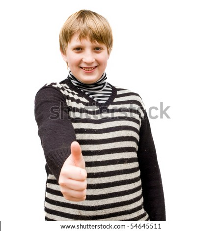 Portrait of a schoolboy isolated on white - stock photo