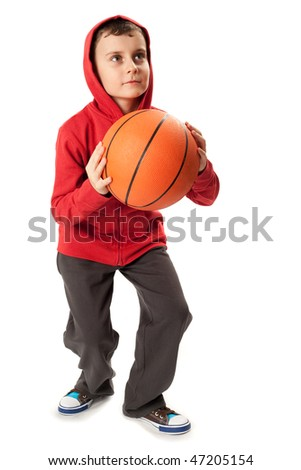 Portrait of a schoolboy with a basketball isolated on white - stock photo