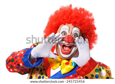 Portrait of a screaming clown isolated on white background - stock photo