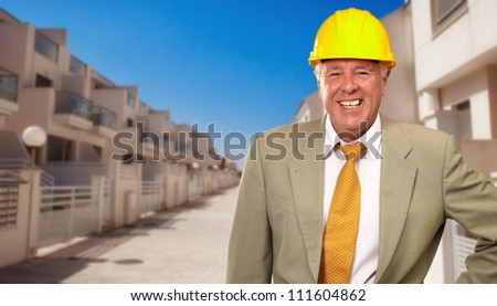 Portrait Of A Senior Architect, Outdoor - stock photo