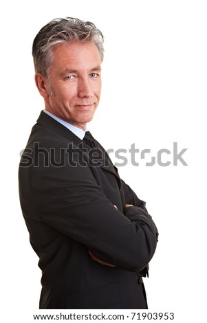 Portrait of a senior business man from the side - stock photo