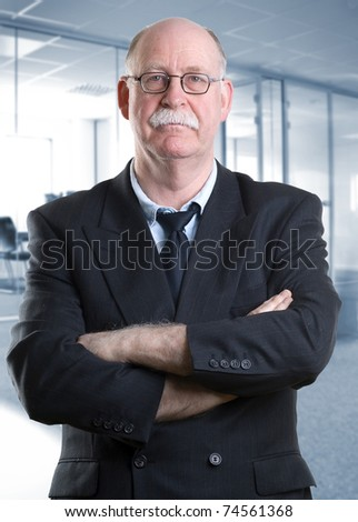 Portrait of a senior businessman in a modern office - stock photo