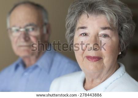 Portrait Of A Senior Couple. Depression and Alzheimer. - stock photo