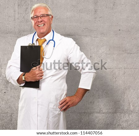 Portrait Of A Senior Doctor, Background - stock photo