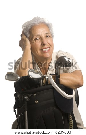 Portrait of a senior golf player isolate on white - stock photo