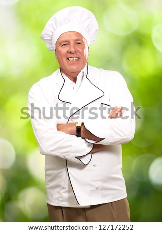 Portrait Of A Senior Male Chef, Outdoor - stock photo
