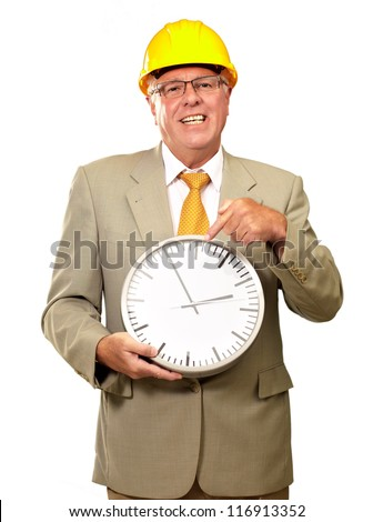 Portrait Of A Senior Man Holding A Wall Watch On White Background - stock photo