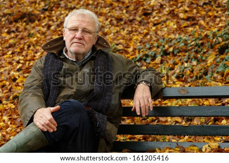 Portrait of a senior man sitting on the bench in park - stock photo