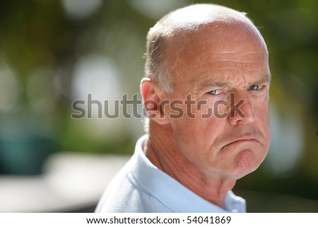 Portrait of a senior man upset - stock photo