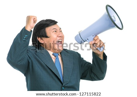 Portrait of a senior screaming businessman with megaphone - stock ...