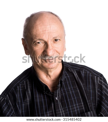 Portrait of a senior smiling man on white background