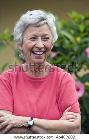 Portrait of a senior woman - stock photo