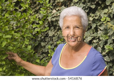 Portrait of a senior woman in her garden