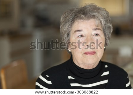 Portrait Of A Senior Woman Lost In Thought. Depression - stock photo