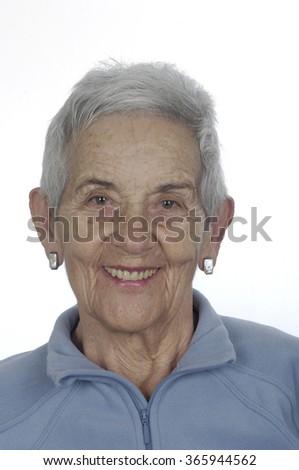 portrait of a senior woman smile - stock photo
