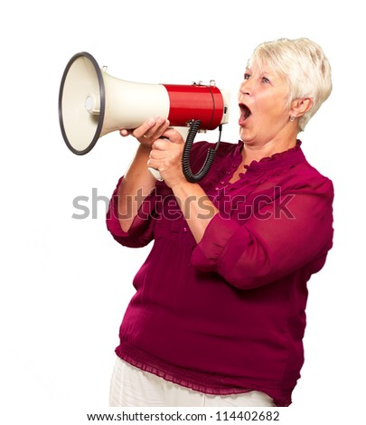 Portrait Of A Senior Woman With Megaphone On White Background - stock photo