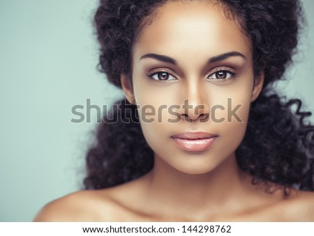 Portrait of a sensual young African woman. - stock photo