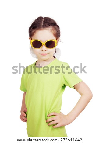 Portrait of a serious cute little girl - stock photo