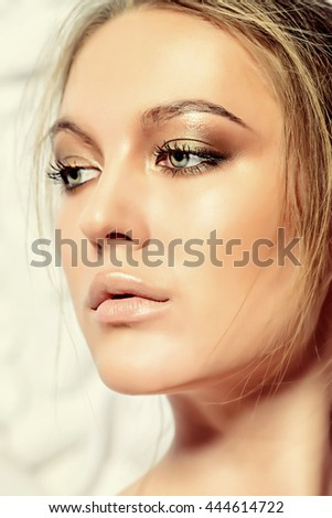 Portrait of a sexual young woman over white floral background. Spa girl, bodycare. Skincare, healthcare. Studio shot.  - stock photo