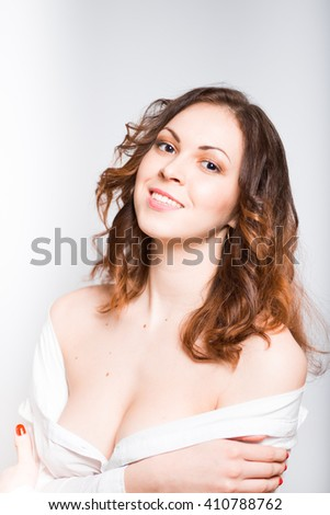 Portrait of a sexy and gentle young woman, concept Erotic closeup isolated on white background