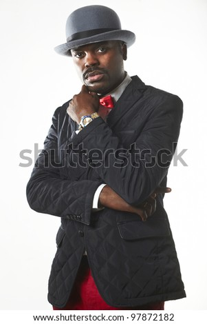 Portrait of a sexy black man in suit - stock photo