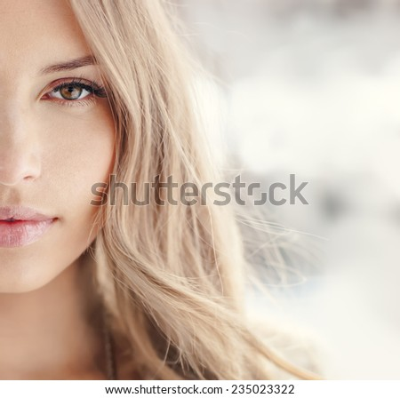 Portrait of a sexy blonde closeup - stock photo
