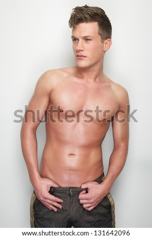 Portrait of a sexy caucasian man shirtless - stock photo