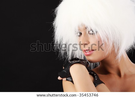 Portrait of a Sexy girl in white winter hat