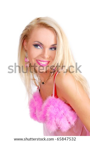 Portrait of a sexy lady in a rose bodice - stock photo