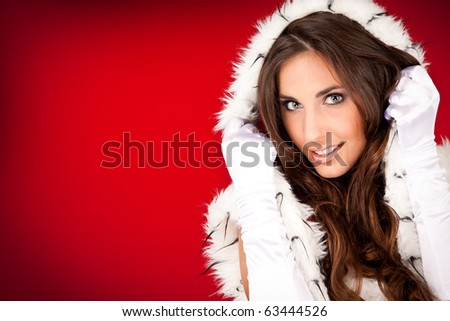 portrait of a sexy woman in santa clothes