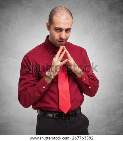 Portrait of a shady businessman - stock photo