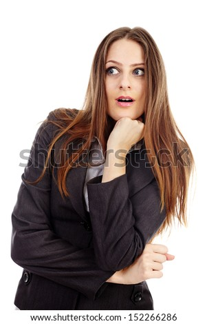 Portrait of a shocked businesswoman isolated on white background - stock photo