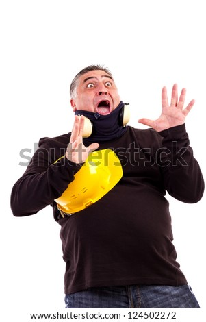 Portrait of a shocked man screaming isolated on white background - stock photo